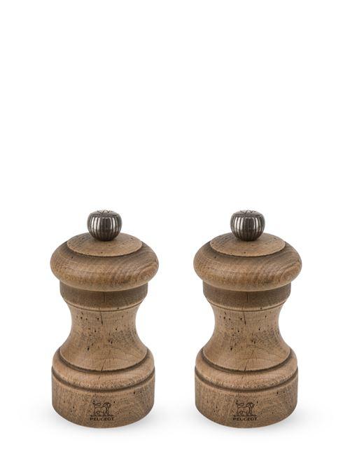 Peugeot Saveurs - Duo de moulins à poivre et à sel manuels en bois de hêtre finition antiquaire 10 cm