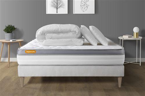Pack matelas + sommier kit blanc 180x200 Memo Zen Mousse à mémoire de forme MAXI épaisseur + Couette + 2 oreillers