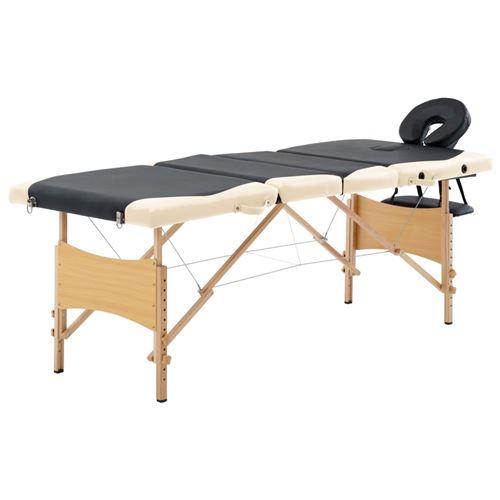 vidaXL Table de massage pliable 4 zones Bois Noir et beige