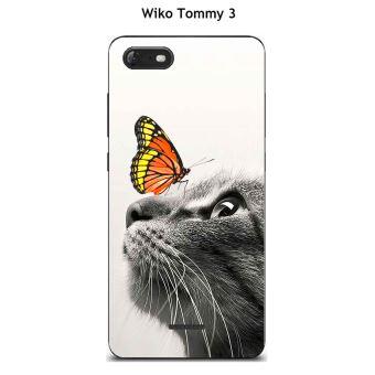 Coque TPU gel souple Wiko Tommy 3 design Chat et papillon