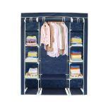Todeco - Penderie, Armoire, 3 portes, 172 x 134 x 43 cm, Bleu, Poids: 3 kg
