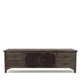 Buffet meuble tv vintage bois fonc grav fuz dutchbone couleur bois massif achat prix - Meuble bois fonce ...