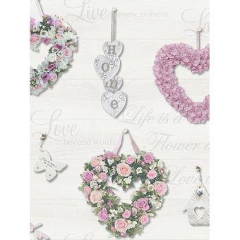 Coeur Floral Gracie Papier Peint Rose Et Gris Decors Et Stickers