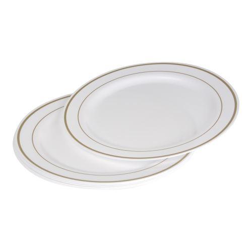 set 6 assiettes plastiques blanches en ps lisere or ø23cm