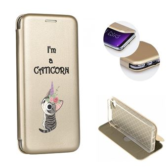 Coque iphone 7 iphone 8 rabat clapet chat licorne cat cute kawaii fleur caticorn gold dore or