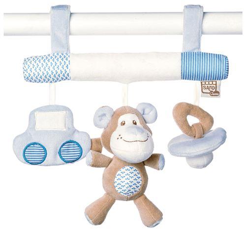 Saro cintre pour poussette avec hochet Little Friends bleu