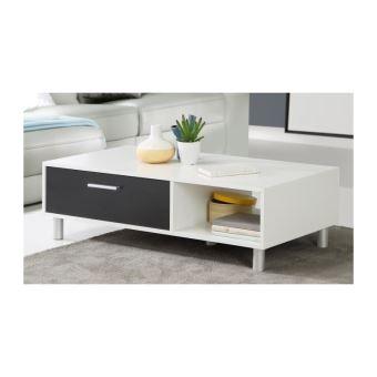 Finlandek Table Basse Laboca Contemporain Decor Blanc Mat Et Noir L 109 7 X L 52 1 Cm
