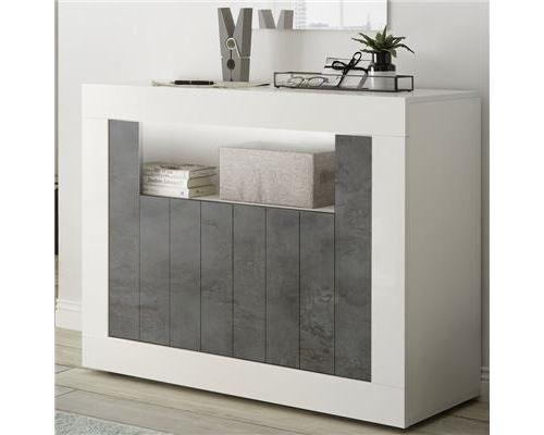 Petit bahut 110 cm blanc effet béton gris foncé moderne URBAN 6 - L 110 x P 42 x H 86 cm