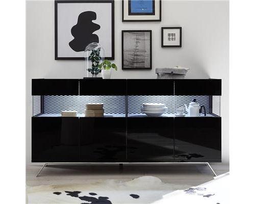 Buffet lumineux 4 portes design noir CASTELLI 7 - L 184 x P 50 x H 101 cm