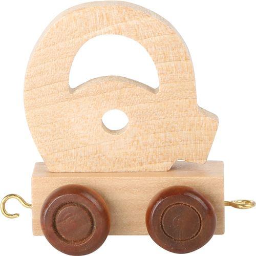 Small Foot chariot de train lettre Q bois beige 5 x 3,5 x 6 cm