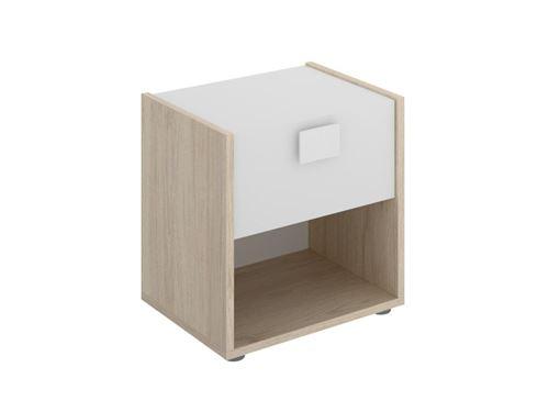 Table de chevet SONIA - 1 tiroir et 1 niche - Coloris : Chêne et blanc