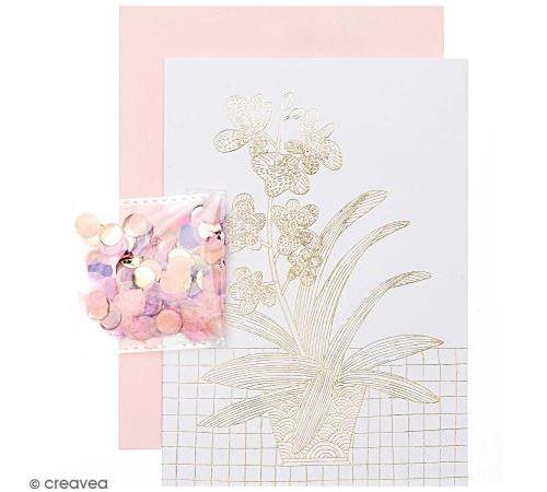 Kit carte anniversaire à personnaliser - Rico Design Hygge - Orchidée - 12,5 x 17,5 cm