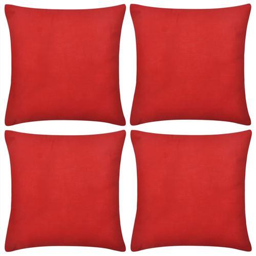 4 housses de coussin en coton 50 x 50 cm Rouge