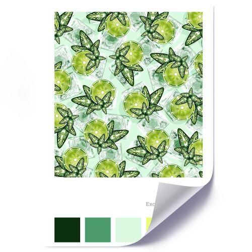 Feeby Affiche imprimée décorative murale Poster Image, Citron vert et menthe 50x70 cm