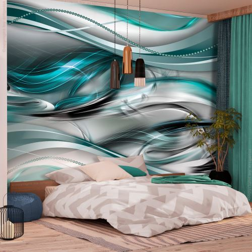 100x70 Papier peint Moderne Abstractions Superbe Tunnels (Green)