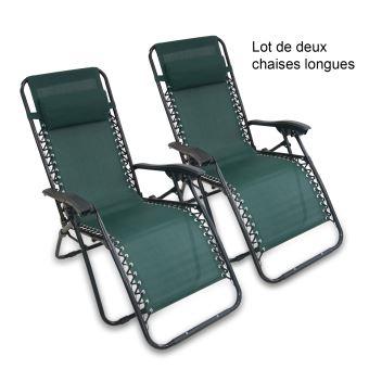 Transat en Textilène de Jardin, Chaise Longue Inclinable, 165 x 112 x 65  cm, Vert, Avec coussin, Pack de 2, Textilène, Charge maximale: 100 kg