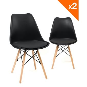 chaise scandinave nasi avec coussin lot de 2 noir achat prix fnac. Black Bedroom Furniture Sets. Home Design Ideas