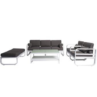 Grand salon de jardin modulable 8 places, structure aluminium design ...