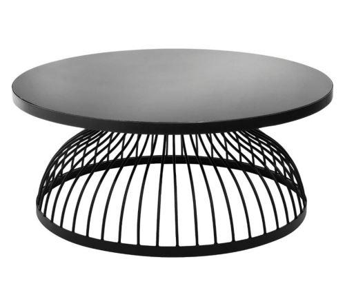Table basse en bois coloris noir en verre - D. 90 x H. 38 cm -PEGANE-