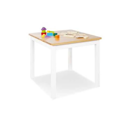 Table enfant Fenna blanc naturel 57x57cm