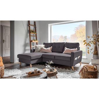 950 sur bobochic oslo canap d angle gauche convertible gris fonc 225x147x86cm achat. Black Bedroom Furniture Sets. Home Design Ideas