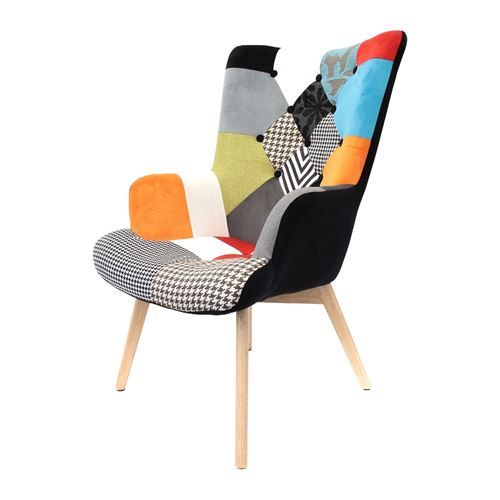 The Home Deco Factory - Fauteuil design coloré patchwork