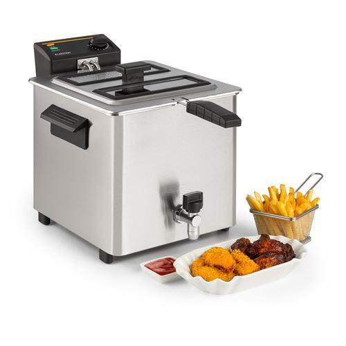 Friteuse électrique - Klarstein Family Fry - Avec panier de cuisson extra-large - 8 L - 3000W - Inox argent