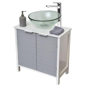 Meuble sous lavabo salle de bain gris et blanc