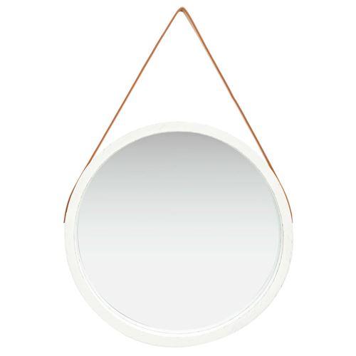 vidaXL Miroir mural avec sangle 60 cm Blanc