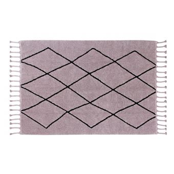 Tapis Lavable En Machine Rose Avec Franges Bereber Lorena Canals