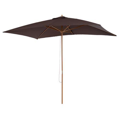 Parasol droit rectangulaire bois polyester haute densité 2,95 x 2 x 2,55 m chocolat