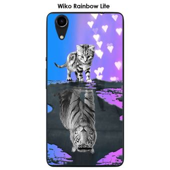 Coque Wiko Rainbow Lite design Chat Tigre Blanc fond bleu rose