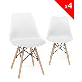 Chaise scandinave nasi avec coussin lot de 4 blanc Chaise scandinave