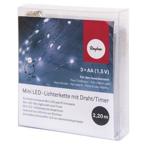 Mini-chaîne lumineuse 20 lumignons led 220cm blanc + minuterie - rayher