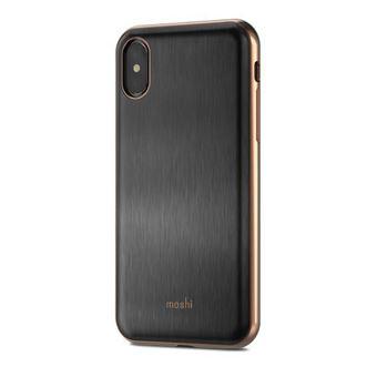 Coque rigide mince Moshi iGlaze Noir broe pour iPhone XS et X