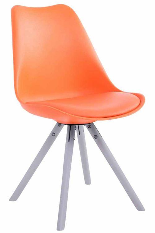 Chaise Toulouse similicuir piétement rond , Orange/Bois de chêne Blanc