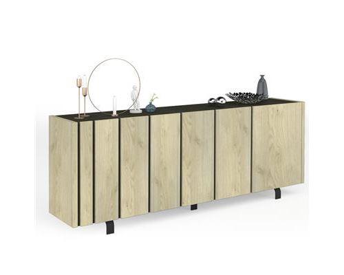 Buffet 4 portes industriel couleur bois et effet béton JEFFREY