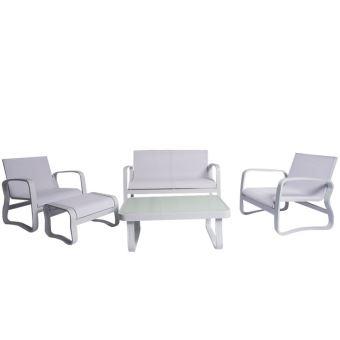 Salon de jardin aluminium textilène, grande assise ...
