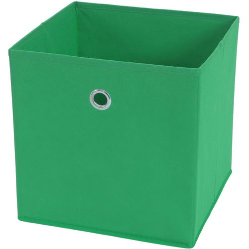 4x box pliable T362, box de rangement, tissu 28x28x28cm ~ vert