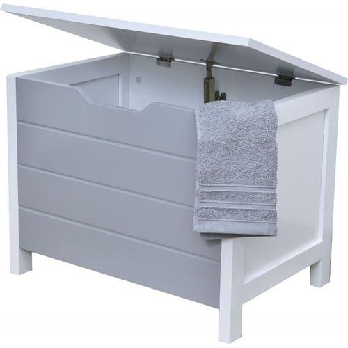 Meuble bas coffre de rangement salle de bain gris et blanc