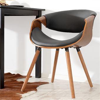 Chaise Design Salle A Manger.Chaise Design Chaise Salle A Manger Bent 56 Cm Noyer Noir Pietement En Bois Style Contemporain