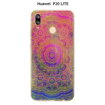Coque Huawei P20 LITE design Mandala rosace Violet, Bleu Jaune