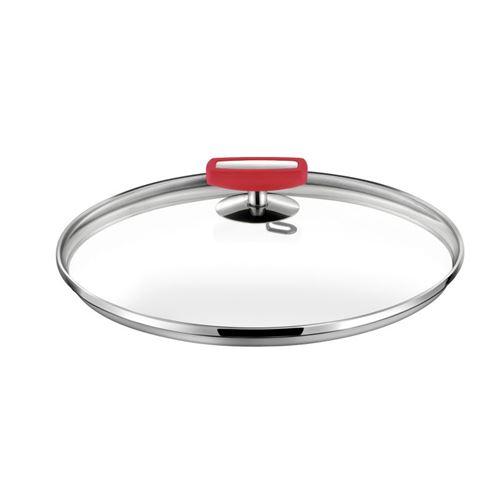 Malice - Couvercle 24cm verre, bakélite rouge et acier