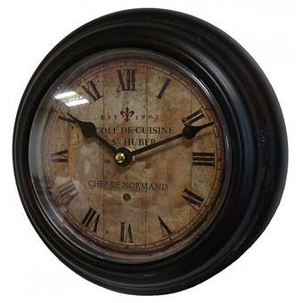 l 39 h ritier du temps horloge murale en fer avec vitre en plexiglass pendule de cuisine ecole de. Black Bedroom Furniture Sets. Home Design Ideas