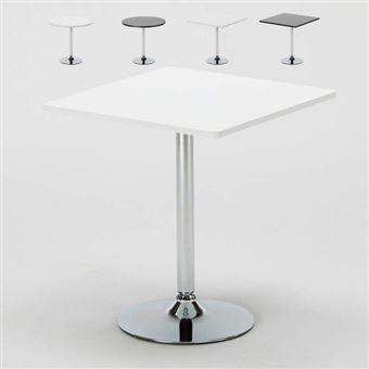 bar table ronde blanc carr noir 70x70 bistrot couleur de la table blanc forme de la table carr achat prix fnac - Table Ronde Bar