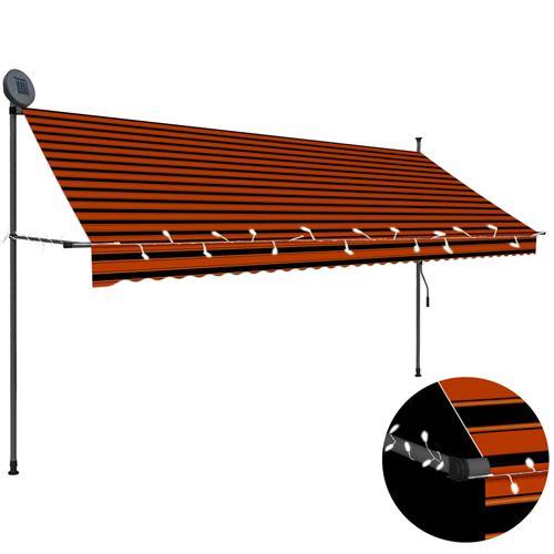 Auvent manuel rétractable avec LED 250 cm - Orange et marron #1