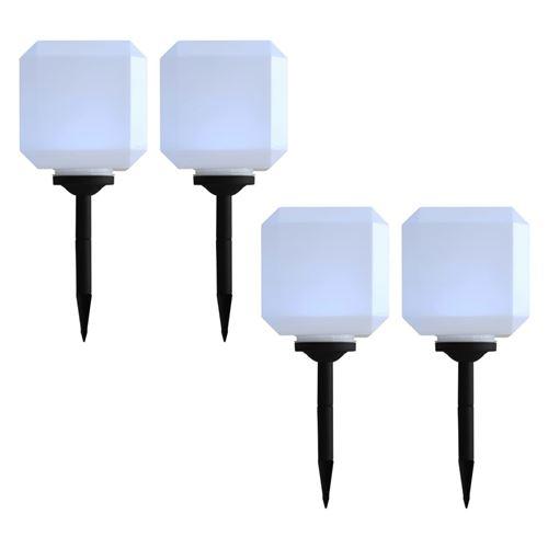 Lampes solaires cubiques à LED d'extérieur 4 pcs 20 cm Blanc
