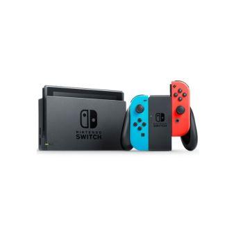 Zwarte Nintendo Switch Console met Joy-Con Straight rood Neon Controllers en Joy-Con Left blauw Neon