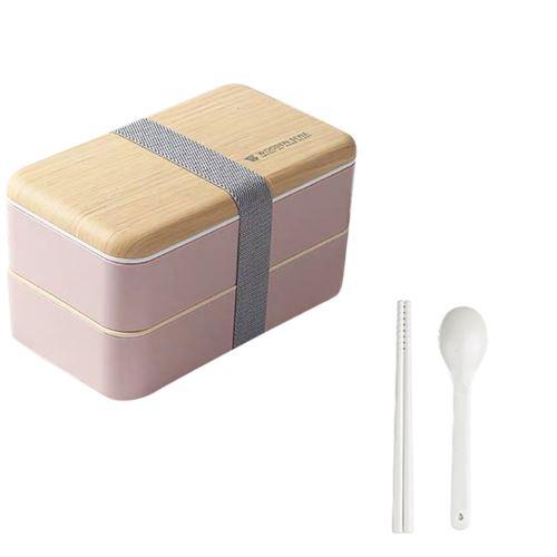 Micro-Ondes Boîte à Lunch Japonaise en Bois Bento Box 2 Couche de Stockage de Conteneurs Nouveau CFYP798