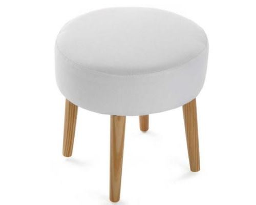 tabouret rond Blanc - Taille 35 x 35 x 35 cm